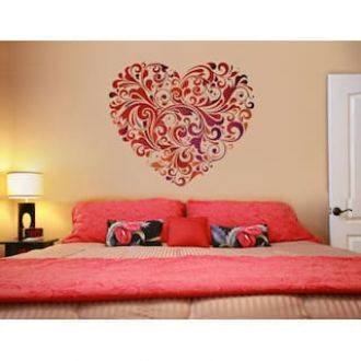 Flat 91% off on WallTola Wall Decals Heart Floral Wall Sticker