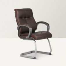Hugo Leatherite Visitors Chair Brown for Rs. 8,900
