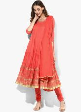 Flat 20% off on Biba Peach Printed Cotton Salwar Kameez Dupatta
