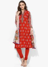 Buy Biba Red Printed Cotton Salwar Kameez Dupatta from Jabong