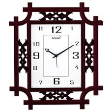 Sonic Square Brown Analog Wall Clock for Rs. 449