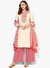 Buy Biba Cream Embroidered Cotton Palazzo Kameez Dupatta from Jabong
