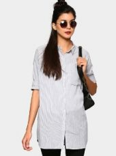 Abof Women Ivory White & Black Pin Striped Relaxed Fit Longline Shirt for Rs. 995