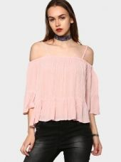 Abof Women Light Pink Regular Fit Bell Sleeve Bardot Top for Rs. 995