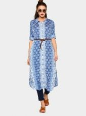 Buy abof Women Blue & White Printed Regular Fit Shirt Tunic from Abof
