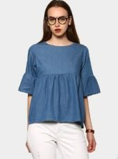 Buy abof Women Blue Regular Fit Flute Sleeve Denim Top from Abof