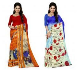 Flat 60% off on Stylobby Set Of 2 Multicolored Georgette Saree(sty_33_37_2)
