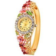Kitcone Analogue Diamond Studded Beige Dial Women'S Watch for Rs. 649