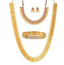 Buy YouBella Fashion Party Wear Gold Plated Brass Bangles, Long Traditional Maharani Bridal Temple coin and Red Temple Coin Necklace Set for women And Earrings Jewellery for Women (2.4) from Amazon