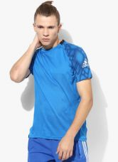 Buy Adidas Mep Clmcool Jsy Blue Printed Round Neck T-Shirt for Rs. 999