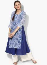 Flat 20% off on Biba Blue Printed Polyester Kurta With Lining