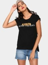 Buy abof Women Black Printed Relaxed Fit T-shirt from Abof
