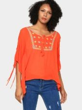 Buy abof Fusion Orange Liva Embroidered Regular Fit Kaftan Top from Abof