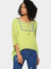 Buy abof Fusion Lime Green Liva Embroidered Regular Fit Kaftan Top from Abof