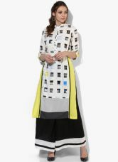 Buy W Off White Printed Kurta for Rs. 600