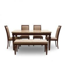 Get 49% off on Bliss Six Seater Dining Set With Bench Beige And Brown