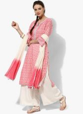 Biba Pink Embroidered Cotton Silk Palazzo Kameez Dupatta for Rs. 2400