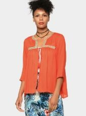 Abof Fusion Coral Orange Liva Embroidered Regular Fit Shrug for Rs. 995