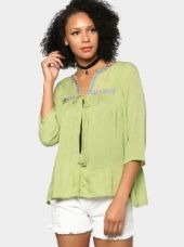 Buy abof Fusion Lime Green Liva Embroidered Regular Fit Shrug from Abof