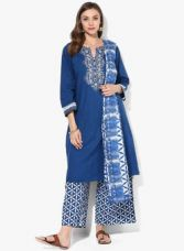 Buy Biba Blue Embroidered Cotton Palazzo Kameez Dupatta for Rs. 2400