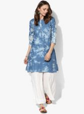 Buy Biba Blue Embroidered Cotton Poly Kurta for Rs. 1320