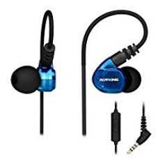 ROVKING Over Ear In Ear Noise Isolating Sweatproof Sport Headphones Earbuds Earphones with Remote and Mic Earhook Wired Stereo Workout Earpods for Running Jogging Gym for iPhone iPod Samsung (Blue) for Rs. 599