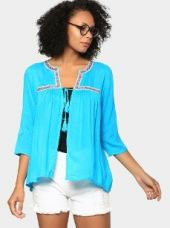 Buy abof Fusion Blue Liva Embroidered Regular Fit Shrug from Abof