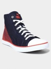 Buy Puma Men Navy Blue & Red Canvas Sneakers from Abof
