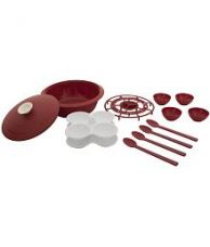 Flat 62% off on Cutting Edge Daffodil Microwave-Cook-Serve-Store Starter Set, 14 Piece, Blossom Red