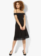 Dorothy Perkins Black Solid Lace Fit And Flare Dress for Rs. 1464