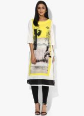 W Off White Printed Polyester Kurta for Rs. 650