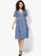 Dorothy Perkins Blue Geo Wrap Dress for Rs. 1745