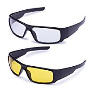 659eabf07ae Buy Agera UV Protected black with yellow lens wrap around day night biker  sunglasses for Men