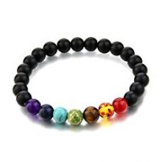 Hot And Bold Black Certified Natural Gem/Semi Precious Stones & 7 Chakra Strand Bracelet For Women , Men, Girls, & Boys for Rs. 499