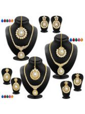 Flat 70% off on Sukkhi Fabulous Gold Plated AD Set of 3 Necklace S...