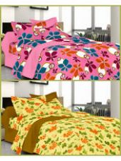 Flat 48% off on Welhouse Summer Special 2 Double Bed Sheets with 4...
