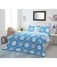 Buy Welhome Double Cotton Blue Abstract Bed Sheet for Rs. 699