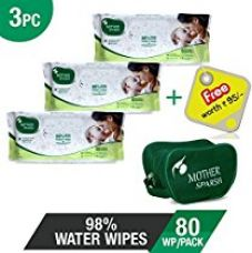 Mother Sparsh Baby Wet Wipes (98% Pure Water), Parabens & Alc for Rs. 379