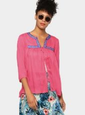 Buy abof Fusion Pink Liva Embroidered Regular Fit Shrug from Abof