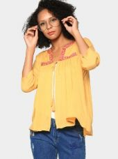 Buy abof Fusion Yellow Liva Embroidered Regular Fit Shrug from Abof