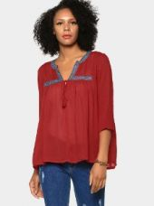 Buy abof Fusion Coral Red Liva Embroidered Regular Fit Shrug from Abof