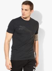 Buy Puma Ess Big Cat Heather Dark Grey Round Neck T-Shirt for Rs. 660