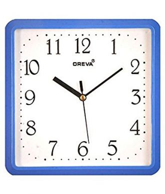 Oreva Glass and Plastic Wall Clock(20x20cm, Blue) for Rs. 240