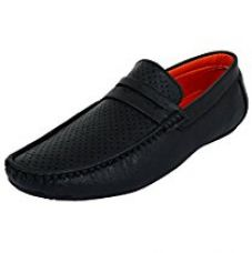 Buy Alestino Leather look Men Black Casual Loafers ShoesBlack from Amazon