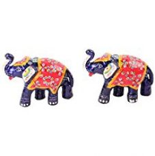 Buy Jaipuri Haat Handicrafted set of 2 showpiece Big Size Elephant for decoration and Gift purpose (13x8 CM) from Amazon