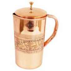 Buy Handmade Pure Copper 1000 Ml Designer Jug Pitcher - Storage Water Home Hotel Restaurant for Rs. 595