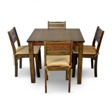 Buy Java Four Seater Dining Set Brown from Fabfurnish