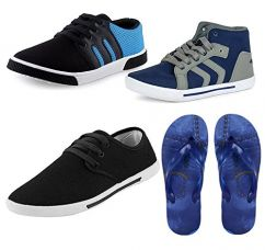 Buy JABRA 3 Sneaker Shoes & 1 Slipper Combo Men (BR-1 Blue+Arrow Grey+ BG-102 Black+ Tiger) from Amazon