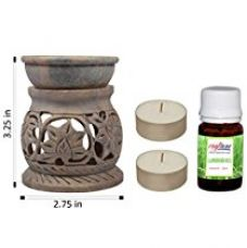 Craftuno Handcrafted Soapstone Oil Diffuser With Floral Carving (Free : 2 Tealights & 1 Bottle Aroma Oil 20 ml) (Height : 3.25 inches) for Rs. 324