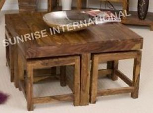 Sheesham wood - Wooden coffee table with 4 stools ! for Rs. 10,376
